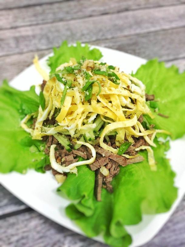 Салат с телятиной и свежим огурцом